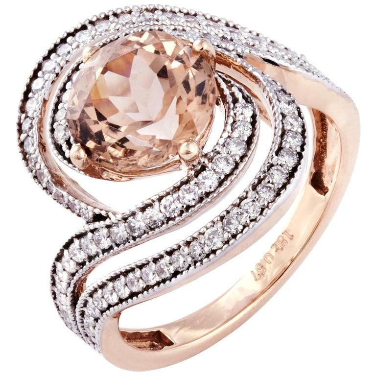Morganite Diamond Fashion Ring Set in 18 Karat Rose Gold 'VS/G Diamonds' For Sale