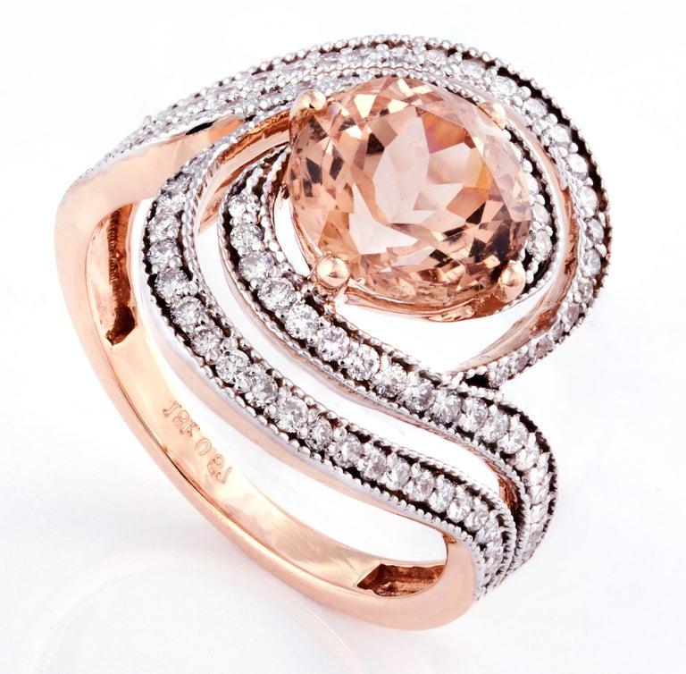 Round Cut Morganite Diamond Fashion Ring Set in 18 Karat Rose Gold 'VS/G Diamonds' For Sale