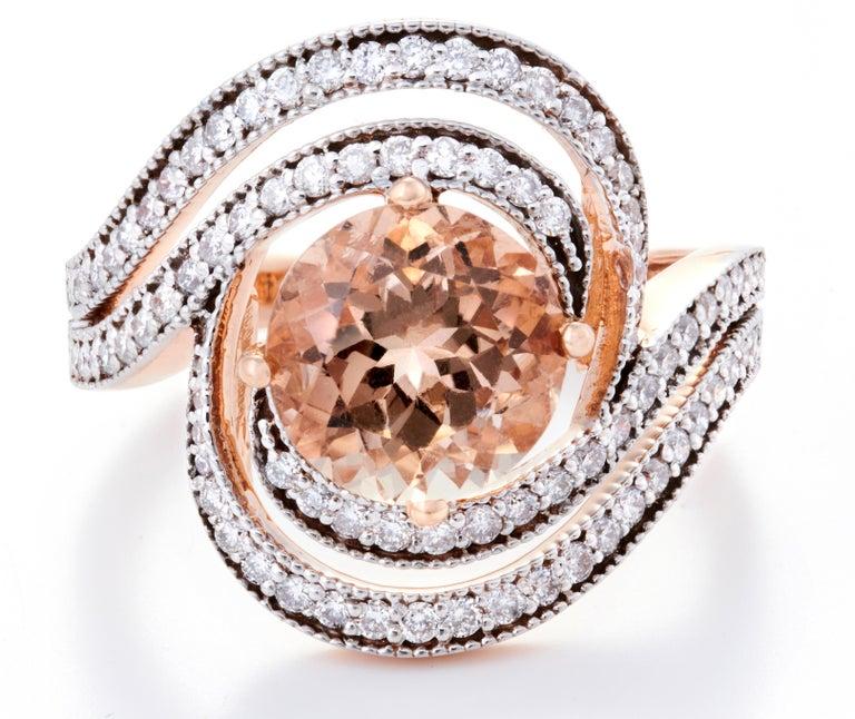 Morganite Diamond Fashion Ring Set in 18 Karat Rose Gold 'VS/G Diamonds' In New Condition For Sale In Mumbai, IN
