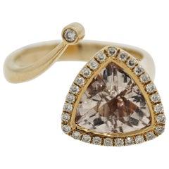 Morganite Diamond Gold Abstract Ring