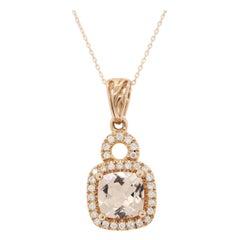 Morganite Diamond Gold Pendant