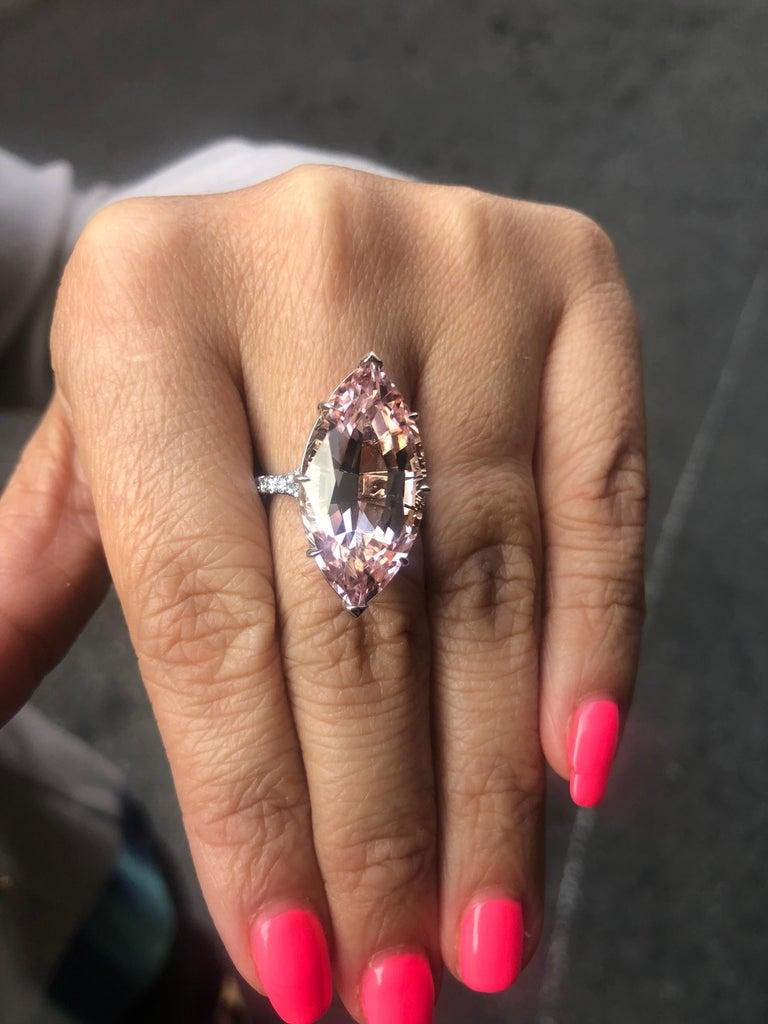 Women's Morganite Diamond Platinum Cocktail Pink Ring 14.54 Carat For Sale