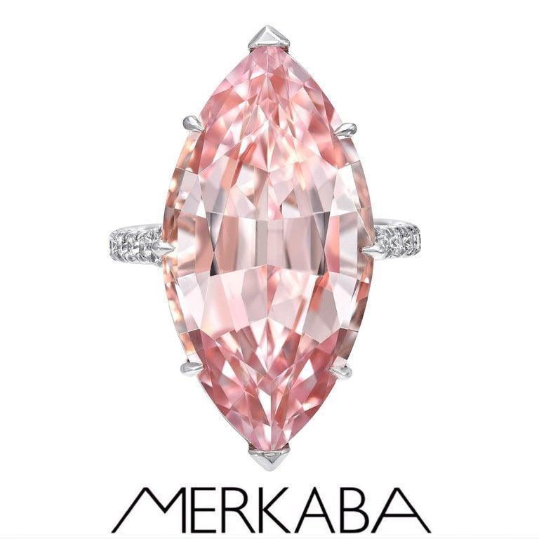 Marquise Cut Morganite Diamond Platinum Cocktail Ring 14.54 Carat For Sale