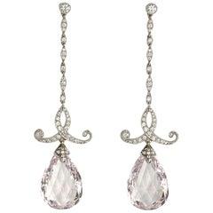 Morganite Diamond Platinum Drop Earrings