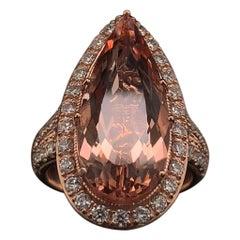 Morganite Diamond Ring 14 Karat 6.91 Carat Certified