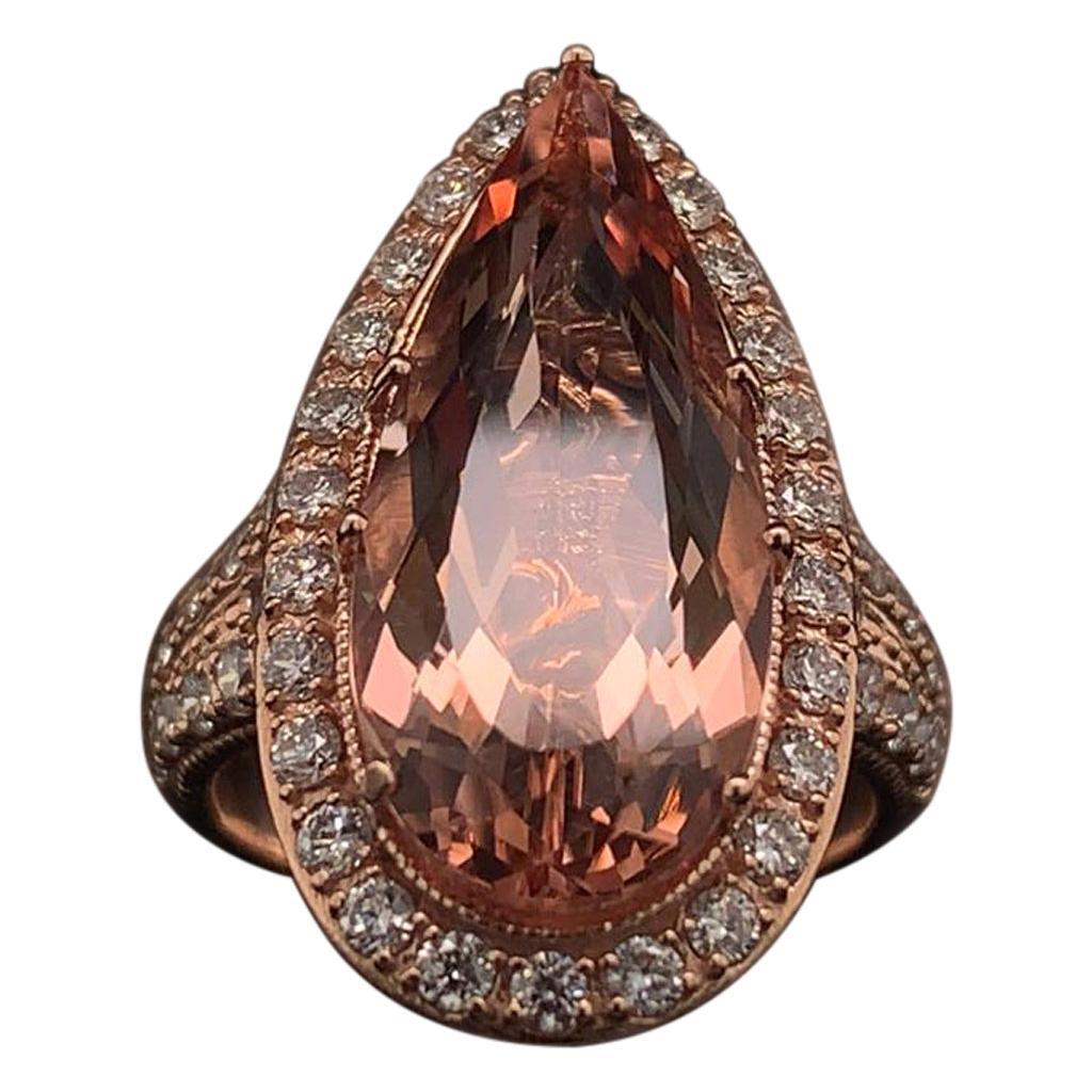 Morganite Diamond Ring 14k Rose Gold 6.91 TCW Certified
