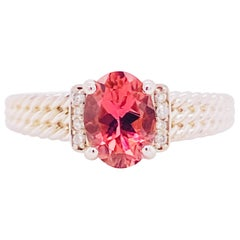 Morganite Diamond Ring, Engagement, 14k White Gold, Twisted Band, 1 Carat Oval