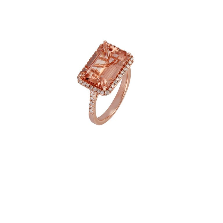 Octagon Cut Morganite and Diamond Ring Studded in 18 Karat Rose Gold For Sale