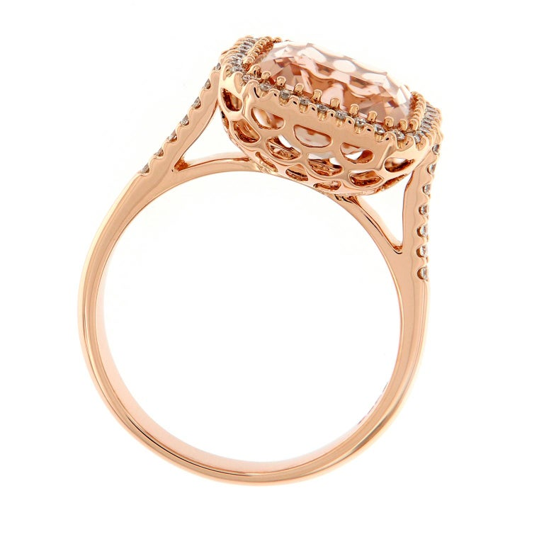 Morganite Diamond Rose Gold Cocktail Ring In New Condition For Sale In Troy, MI