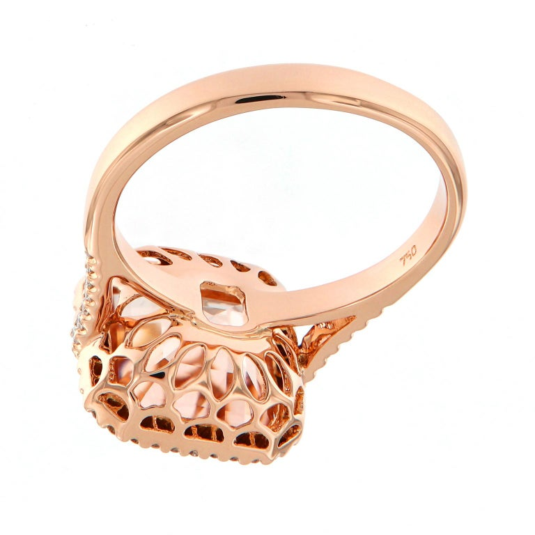 Women's Morganite Diamond Rose Gold Cocktail Ring For Sale