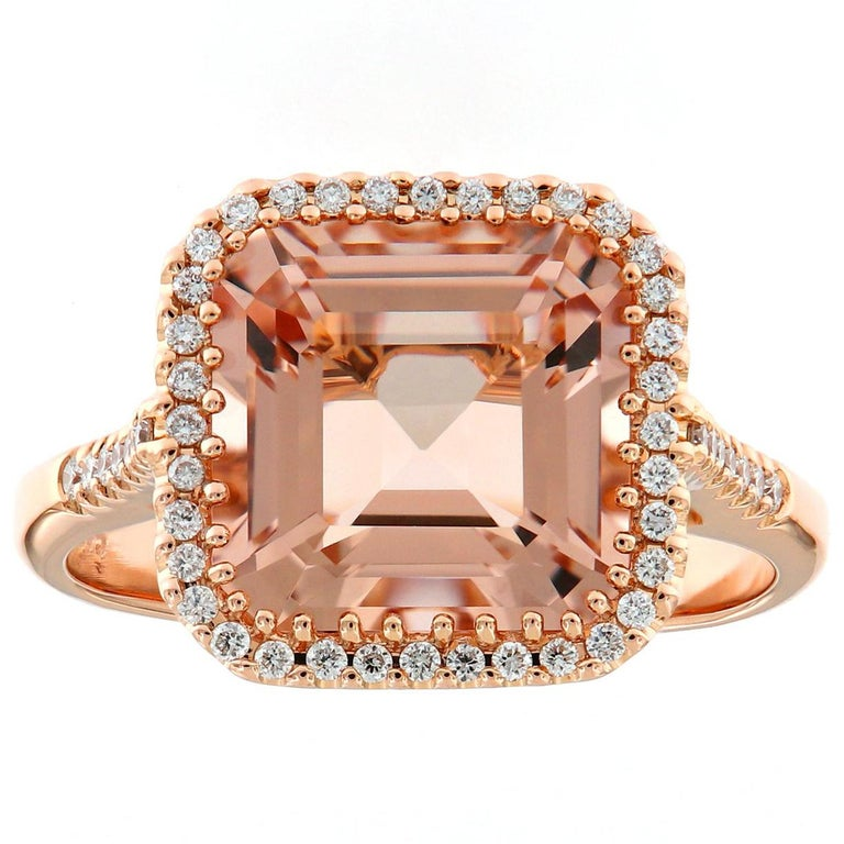 Morganite Diamond Rose Gold Cocktail Ring For Sale