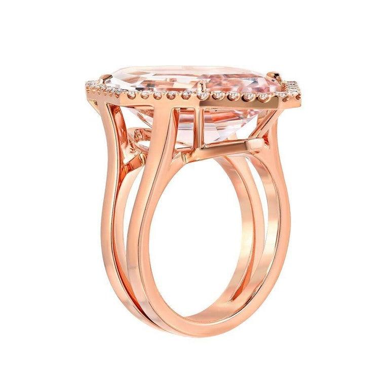 Modern Morganite Diamond Rose Gold Ring 10.69 Carat For Sale