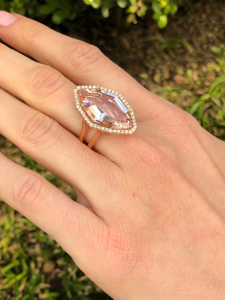 Morganite Diamond Rose Gold Ring 10.69 Carat For Sale 2