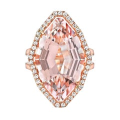 Morganite Ring 10.69 Carat Fancy Cut