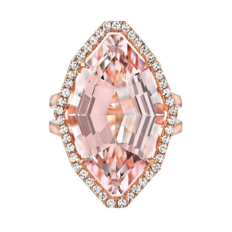 Morganite Diamond Rose Gold Ring 10.69 Carat For Sale