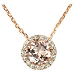 Morganite Diamond Round Cut Halo Pendant Necklace in Rose Gold, Peach Pink