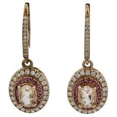 Morganite Diamond Sapphire Gold Drop Earrings