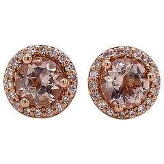 Morganite Diamond Studs Earrings, Halo of Diamonds, Rose Gold Halo Earrings