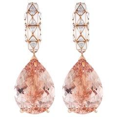 Morganite Pear Cut and Diamond Earrings