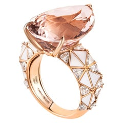 Morganite Pear Cut and Diamond Ring