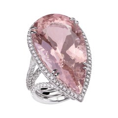 Morganite Pear Cut Diamonds 18 KT White Gold Made in Italy Ring