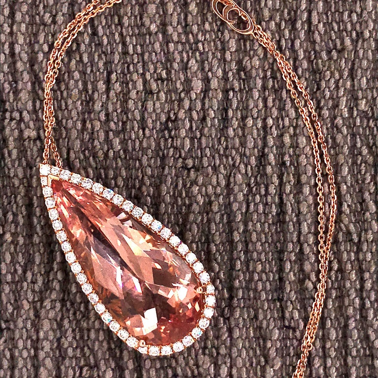 Morganite Pear Shape with Diamond on Pendant Necklaces Rose Gold 18 Karat For Sale 2