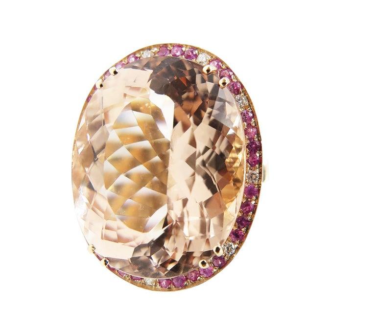 Modern Morganite Pink Sapphire Diamond 18 Karat Rose Gold Cocktail Ring For Sale
