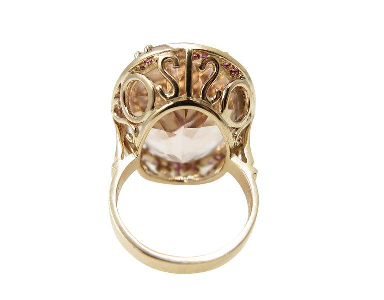 Women's Morganite Pink Sapphire Diamond 18 Karat Rose Gold Cocktail Ring For Sale