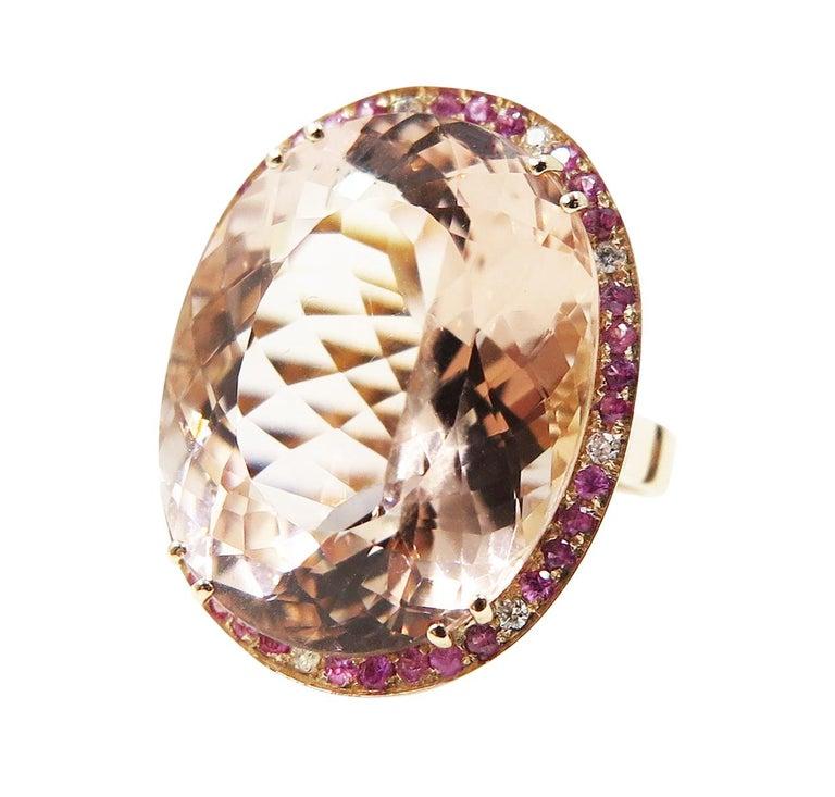 Morganite Pink Sapphire Diamond 18 Karat Rose Gold Cocktail Ring For Sale