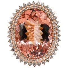 Morganite Ring 31.95 Carat with Diamonds 2.16 Carat 18 Karat Gold