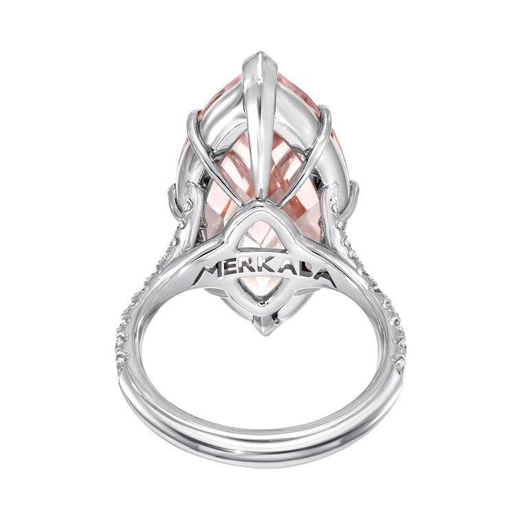 Modern Morganite Diamond Platinum Cocktail Ring 14.54 Carat For Sale