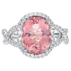 Morganite Ring Diamond White Gold Cocktail Ring