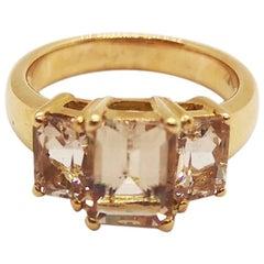 Morganite Ring Set in 18 Karat Rose Gold Settings