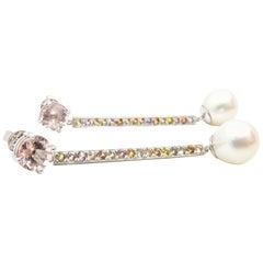 Morganite, Sapphire, Freshwater Pearl and 18 Carat Gold Handmade Drop Earrings