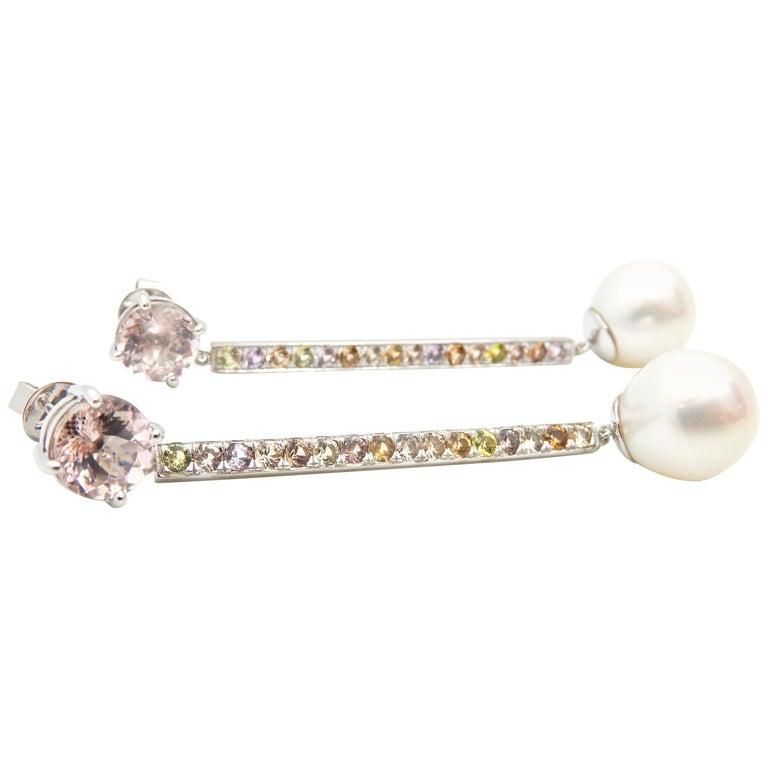 Morganite, Sapphire, Freshwater Pearl and 18 Carat Gold Handmade Drop Earrings For Sale