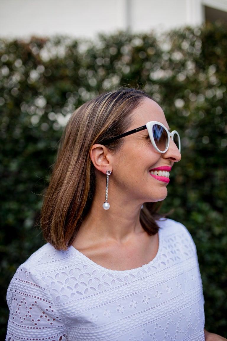 Morganite, Sapphire, Freshwater Pearl and 18 Carat Gold Handmade Drop Earrings For Sale 5