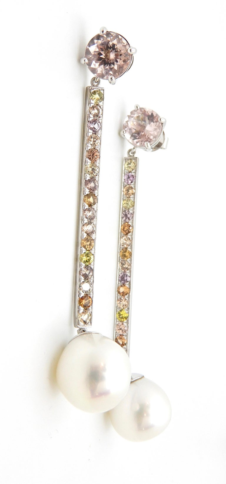 Contemporary Morganite, Sapphire, Freshwater Pearl and 18 Carat Gold Handmade Drop Earrings For Sale