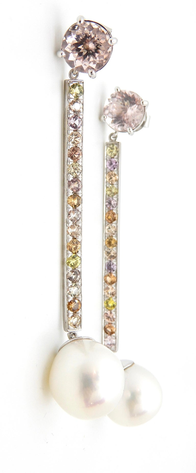 Round Cut Morganite, Sapphire, Freshwater Pearl and 18 Carat Gold Handmade Drop Earrings For Sale