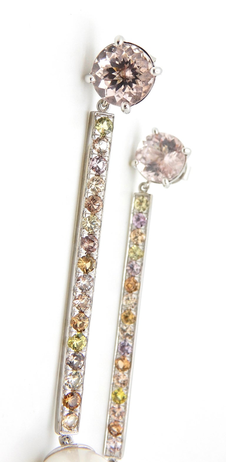 Morganite, Sapphire, Freshwater Pearl and 18 Carat Gold Handmade Drop Earrings In Excellent Condition For Sale In Brisbane, QLD