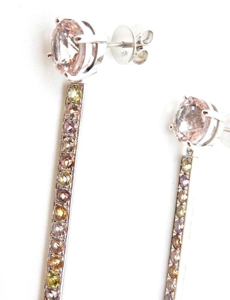 Women's Morganite, Sapphire, Freshwater Pearl and 18 Carat Gold Handmade Drop Earrings For Sale