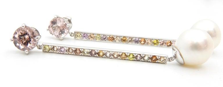 Morganite, Sapphire, Freshwater Pearl and 18 Carat Gold Handmade Drop Earrings For Sale 2