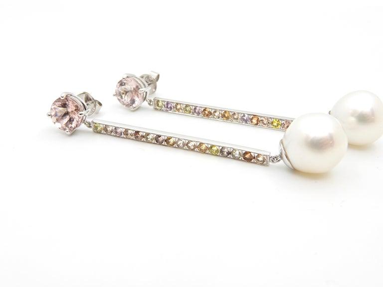 Morganite, Sapphire, Freshwater Pearl and 18 Carat Gold Handmade Drop Earrings For Sale 3
