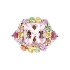 Morganite Sapphire Ruby Diamond 14 Karat White Gold Cocktail Ring