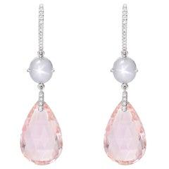 Morganite, Star Sapphire and Diamond Drop Earrings