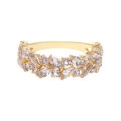 Morganite Unique Half Eternity Wedding Ring in 18K Yellow Gold