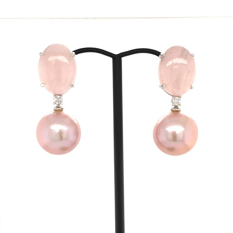 Discover this Cultured Perles pink with  Natural Morganite 2 White Diamonds shape B 0.140 carat  White Gold 18K weight 4.25 grams 2 type of Claps    Chandelier Earrings Can be adapted to ear not pierced