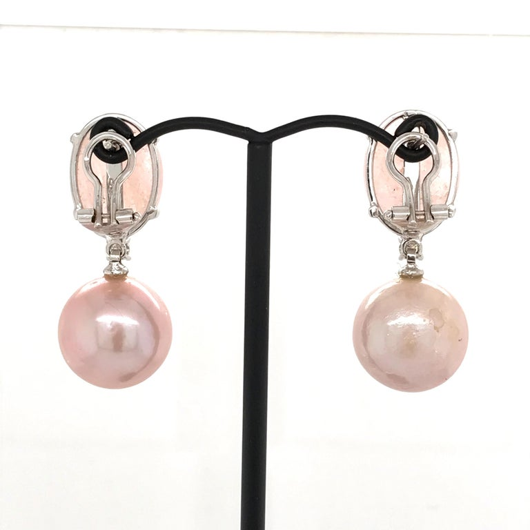 Women's Morganite with Cultured Perles and Diamonds on White Gold Chandelier Earrings For Sale