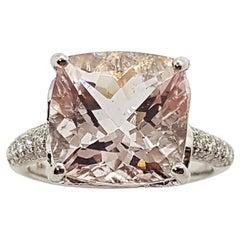 Morganite with Diamond Ring Set in 18 Karat White Gold Settings