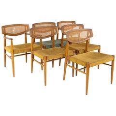 Morganton Mid Century Walnut Cane Back Cats Eye Dining Chairs, Set of 6