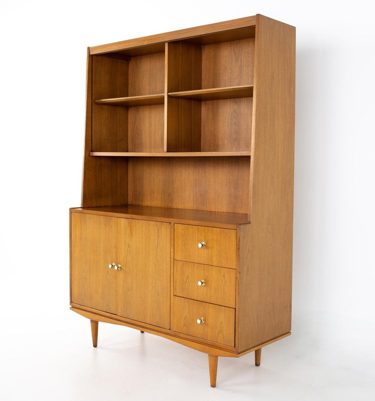 Morganton Mid Century walnut china cabinet China cabinet measures: 48 wide x 18 deep x 68.5 inches high  All pieces of furniture can be had in what we call restored vintage condition. That means the piece is restored upon purchase so it's free of